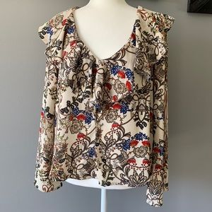W5 Floral Ruffle Bell Sleeve Blouse